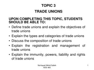 TOPIC 3 TRADE UNIONS
