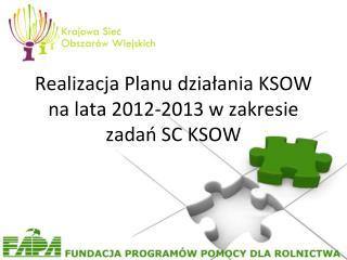 Realizacja Planu działania KSOW na lata 2012-2013 w zakresie zadań SC KSOW