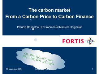 The carbon market From a Carbon Price to Carbon Finance
