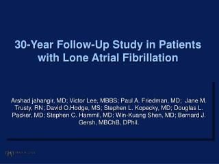 30-Year Follow-Up Study in Patients with Lone Atrial Fibrillation