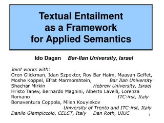 Textual Entailment  as a Framework  for Applied Semantics