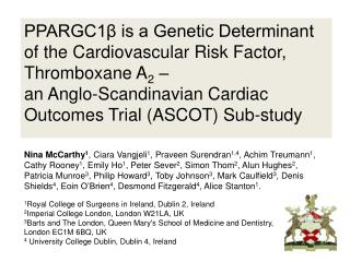 PPARGC1β is a Genetic Determinant of the Cardiovascular Risk Factor, Thromboxane A 2  –