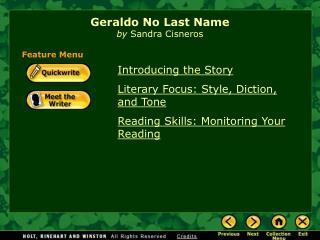 Geraldo No Last Name by  Sandra Cisneros