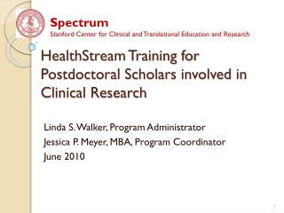 HealthStream Training for Postdoctoral Scholars involved in Clinical Research