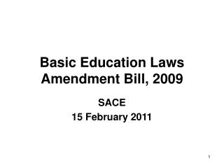 Basic Education Laws Amendment Bill, 2009