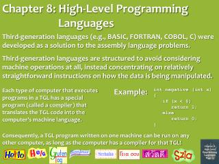 Chapter 8: High-Level Programming Languages