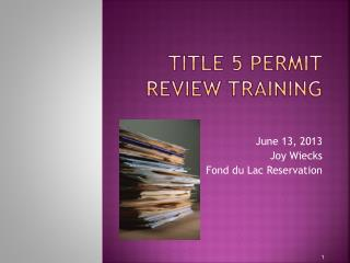 title 5 Permit Review Training