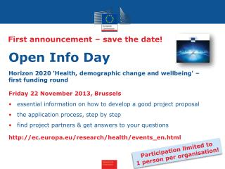 First announcement – save the date!