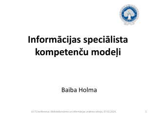 Informācijas speciālista kompetenču modeļi