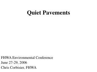 Quiet Pavements