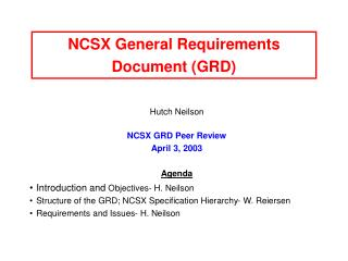 NCSX General Requirements Document (GRD)