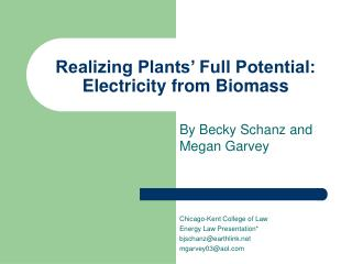 Realizing Plants� Full Potential: Electricity from Biomass
