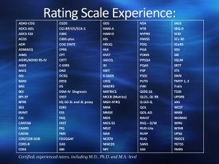 Rating  Scale Experience: