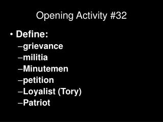 Opening Activity #32