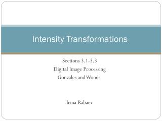 Intensity Transformations
