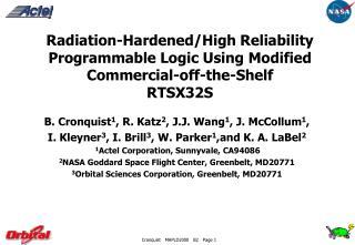 B. Cronquist 1 , R. Katz 2 , J.J. Wang 1 , J. McCollum 1 ,