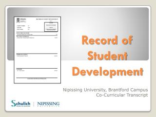 Record of Student Development