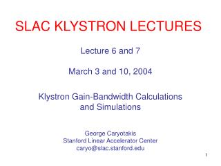 SLAC KLYSTRON LECTURES
