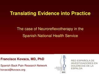 Translating Evidence into Practice  The case of Neuroreflexotherapy in the