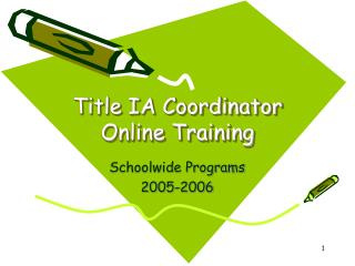 Title IA Coordinator Online Training