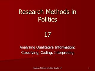 Research Methods in Politics 17