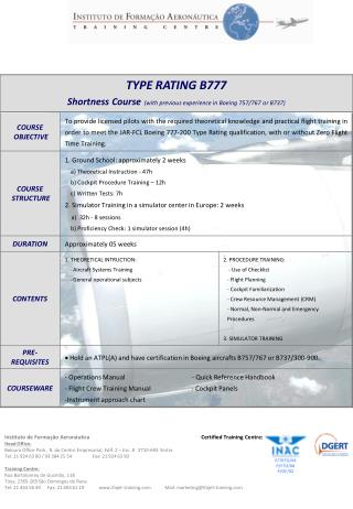 TYPE RATING B777 Shortness Course (with previous experience in Boeing 757/767 or B737)