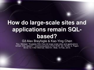 How do large-scale sites and applications remain SQL-based?