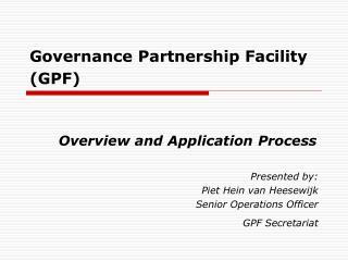 Governance Partnership Facility GPF