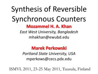 Synthesis of Reversible Synchronous Counters