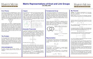 Matrix Representations of Knot and Link Groups Jess May 2006