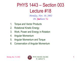 PHYS 1443 – Section 003 Lecture #18