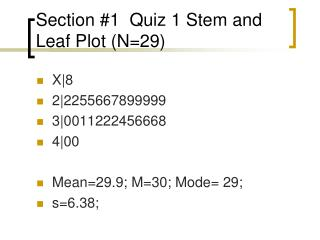Section #1  Quiz 1 Stem and Leaf Plot (N=29)