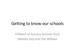 Getting to know our schools