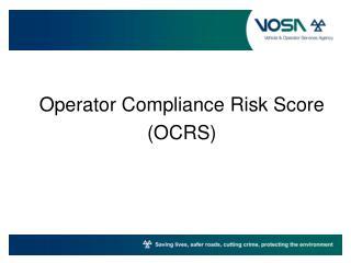 Operator Compliance Risk Score (OCRS)