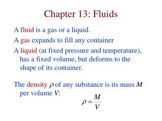 Chapter 13: Fluids