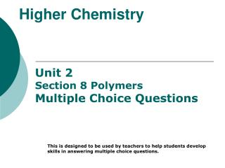 Higher Chemistry