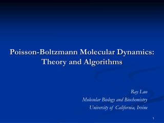 Poisson-Boltzmann Molecular Dynamics: Theory and Algorithms