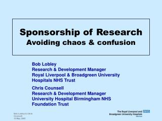 Sponsorship of Research Avoiding chaos & confusion