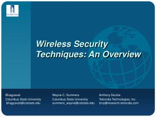 Wireless Security Techniques: An Overview