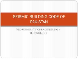 SEISMIC BUILDING CODE OF PAKISTAN