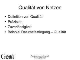 Qualität von Netzen