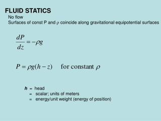 FLUID STATICS 	No flow