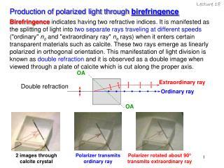 Production of polarized light through  birefringence