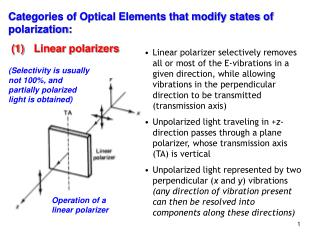 Categories of Optical Elements that modify states of polarization: