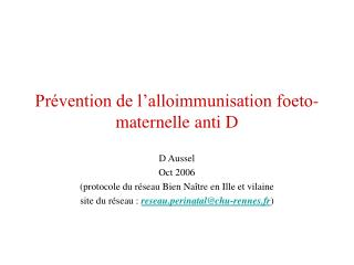 Pr vention de l alloimmunisation foeto-maternelle anti D