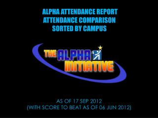 ALPHA ATTENDANCE REPORT   ATTENDANCE COMPARISON SORTED BY CAMPUS