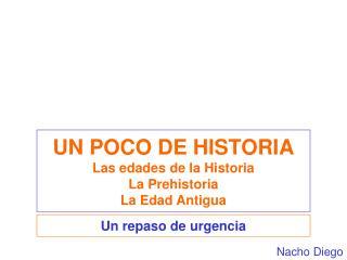 UN POCO DE HISTORIA Las edades de la Historia La Prehistoria La Edad Antigua