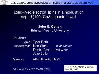 Long-lived electron spins in a modulation doped (100) GaAs quantum well