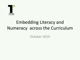 Embedding Literacy and Numeracy  across the Curriculum