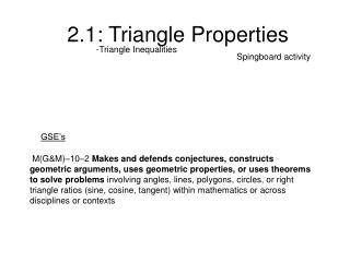 2.1: Triangle Properties